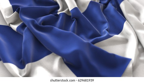 Finland Flag Ruffled Beautifully Waving Macro Close-Up Shot 3D Rendering