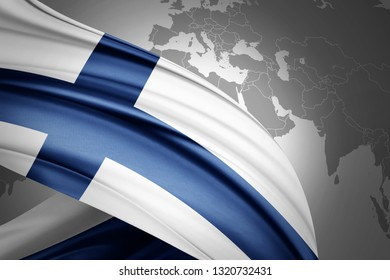 Finland flag of silk with copyspace for your text or images and world map background-3D illustration