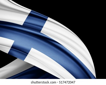 Finland flag of silk with copyspace for your text or images and black  background -3D illustration