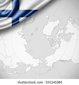 Finland flag of silk with copyspace for your text or images and world map background -3D illustration