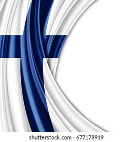 Finland flag of silk with copyspace for your text or images and white background-3D illustration