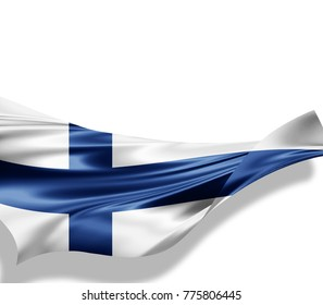 Finland flag of silk with copyspace for your text or images and white background -3D illustration