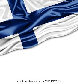 Finland flag of silk and white background