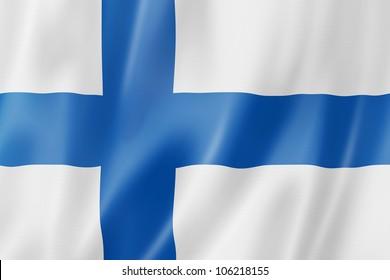 Finland flag, three dimensional render, satin texture