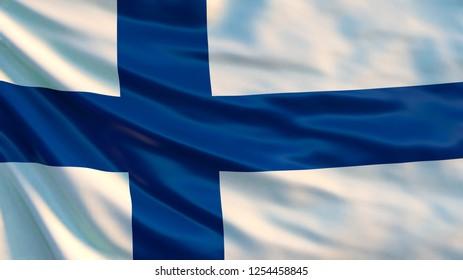 Finland flag. Waving flag of Finland. 3d illustration.