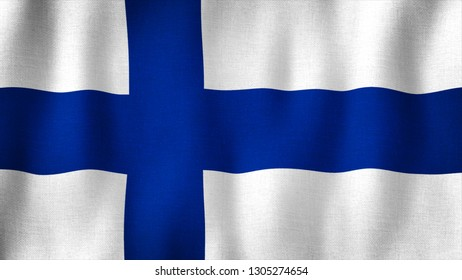 Finland flag waving in the wind. Closeup of realistic Finnish flag with highly detailed fabric texture