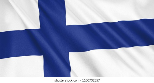 Finland flag waving with the wind, wide format, 3D illustration. 3D rendering.