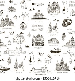 Finland Helsinki architecture objects hand drawn seamless pattern