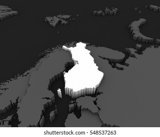 finland map 3D illustration