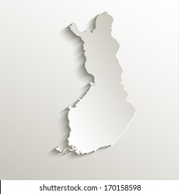 Finland map card paper 3D natural raster