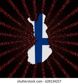 Finland map flag on red hex code burst 3d illustration