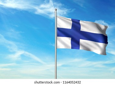 Finland national flag with sky on background realistic 3d illustration