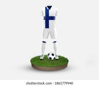 Finland soccer player standing on football grass, wearing a national flag uniform. Football concept. 3D rendering.