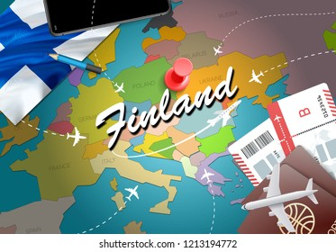 Finland travel concept map background with planes, tickets. Visit Finland travel and tourism destination concept. Finland flag on map. Planes and flights to Finnish holidays to Helsinki,Vantaa