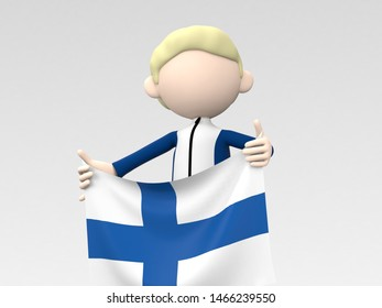 The Finnish athlete who puts up a national flag 3d illustration