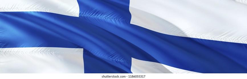 Finnish flag. 3D rendering Waving flag design. The national symbol of Finland.  3D Waving sign design. Waving sign background wallpaper. Finland 3D pattern background download HD wallpaper graphics