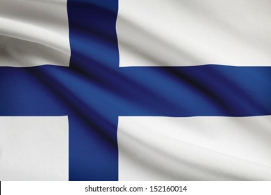Finnish flag blowing in the wind. Part of a series.