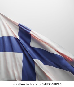 Finnish Flag, Finland National Colors Background   3D Rendering