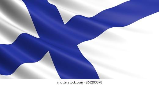 Finnish flag fluttering in wind.