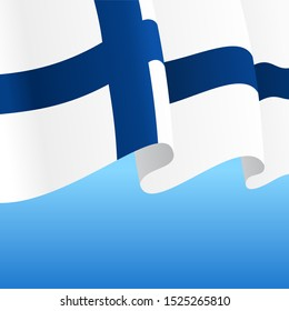 Finnish flag wavy abstract background layout. Raster version.