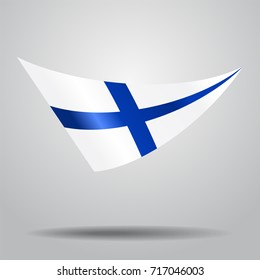 Finnish flag wavy abstract background. Raster version.