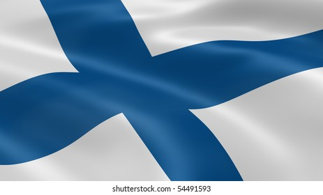 Finnish flag in the wind. Part of a series.