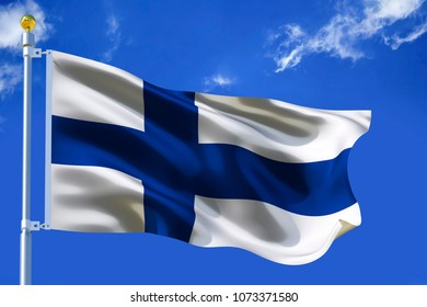 Finnland flag Silk waving flag of Finnland with a flagpole on a blue sky background with clouds 3D illustration