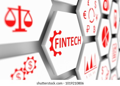 FINTECH concept cell blurred background 3d illustration