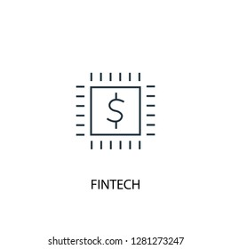 fintech concept line icon. Simple element illustration. fintech concept outline symbol design. Can be used for web and mobile UI/UX