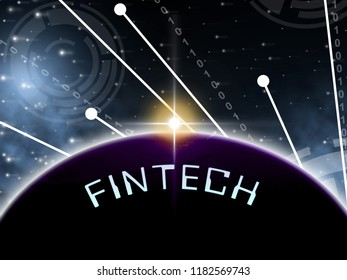 Fintech Globe Worldwide Web Payment 2d Illustration Shows Financial Technology Global Gateway For Microcredit Or Transfer
