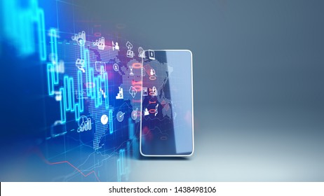 fintech icon and technology element on mobile phone 3d rendering  represent Blockchain and  