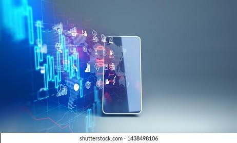 l'icône fintech et l'élément technologique sur le rendu 3d des téléphones portables représentent Blockchain et  Fintech Investment Financial Internet Technology Concept.
