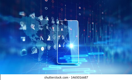 fintech icon and technology element on mobile phone 3d rendering  represent Blockchain and  Fintech Investment Financial Internet Technology Concept.