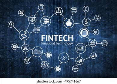Fintech Internet Concept. text and Investment Financial Technology icons with blue matrix coded background