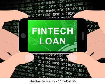 Fintech Loan P2p Finance Credit 3d Illustration Shows Online Money Microcredit Or Lending Virtual Transactions