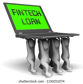 Fintech Loan P2p Finance Credit 3d Rendering Shows Online Money Microcredit Or Lending Virtual Transactions