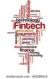 Fintech, word cloud concept on white background.