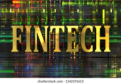 'FINTECH' word in gold on electronic background. 3d illustration