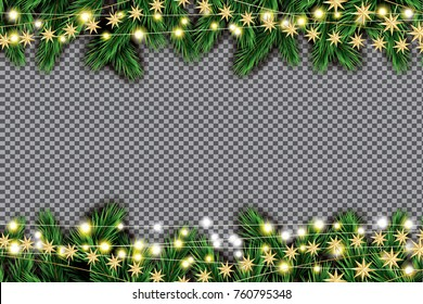Fir Branch with Neon Lights and Golden Stars on Transparent Background.