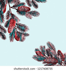 Fir branch. Watercolor illustration. Winter template.