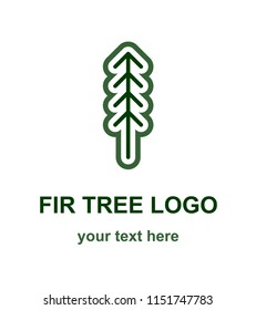 Fir or pine tree minimalist logo concept. Coniferous tree thin line logotype template. Suitable as a forestry, ecological or environmental symbol. Raster design element isolated on white background.