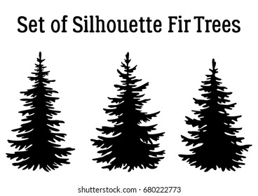 Fir Trees, Christmas Holiday Decoration, Black Silhouettes Isolated on White Background.