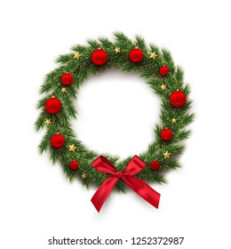 Fir wreath with red Christmas balls, bow and golden stars isolated on white background. Raster copy.