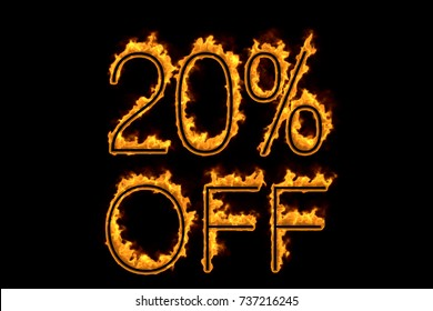 Fire '20% off' isolated on black background, 3d illustration