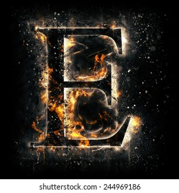 Fire alphabet. Letter E.