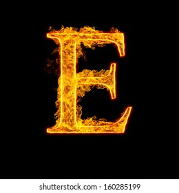 Fire alphabet letter E isolated on black background.