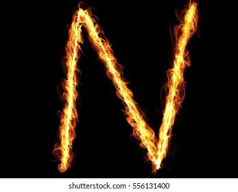 Fire alphabet letter N