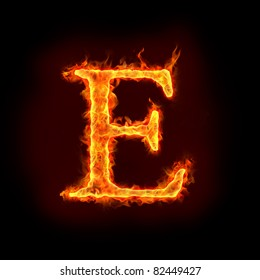 fire alphabets in flame, letter E