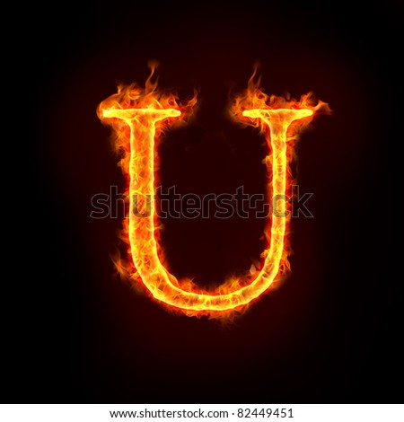 Fire Alphabets Flame Letter U Stock Illustration   Royalty Free
