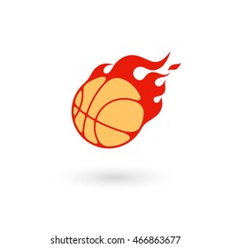 Fire basketball ball on white background.